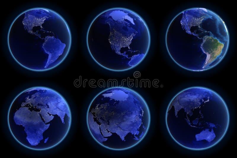 Earth city lights set stock illustration