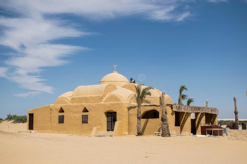 Earth clay mosque, fayoum egypt. Desert architecture. amazing architecure, religious buildings. stock photography