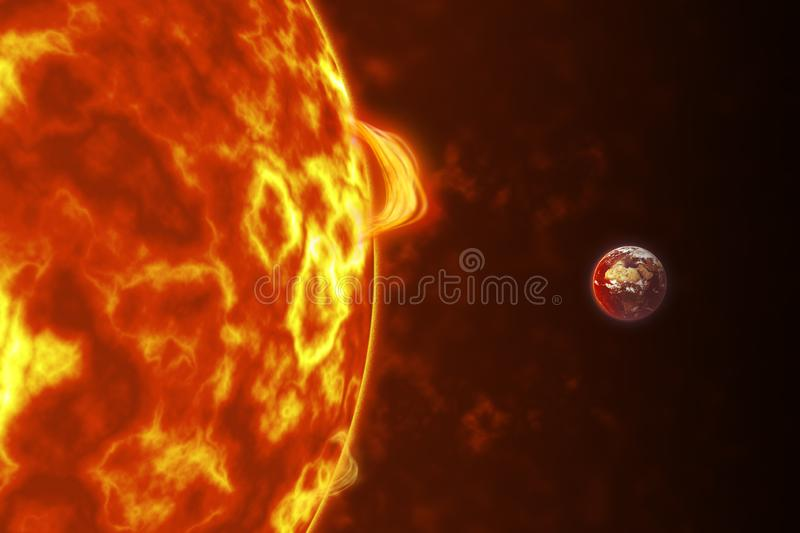 The Earth closing in to the Sun royalty free stock image