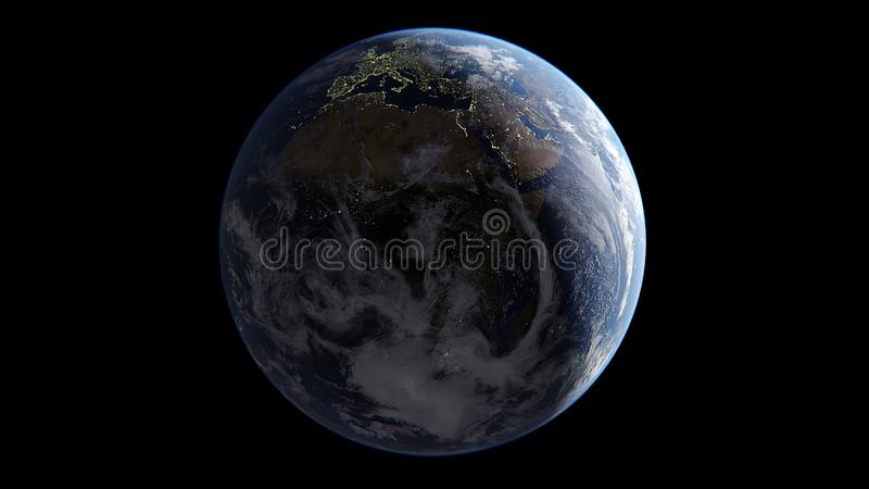 Earth with clouds illuminated by Sun on one side, on night side of lights of cities, in Asia day, in Europe and Africa comes the m stock illustration