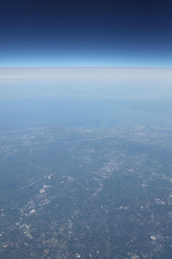 Download Earth Coastline And Deep Sky Space From Airplane Stock Photo - Image: 20010684