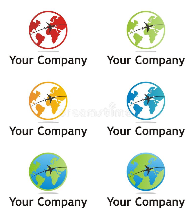 Earth company logo. In multiple colors stock illustration