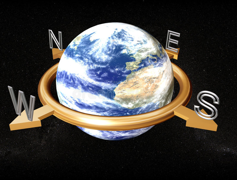 Download Earth compass stock illustration. Illustration of ring - 1803554