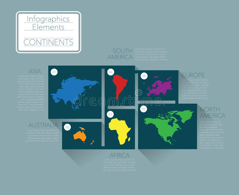 Earth continents. Infographics elements. Vector royalty free illustration