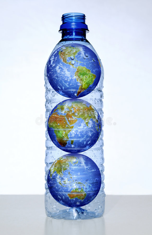 Earth With Continents In Water Bottle Stock Photos