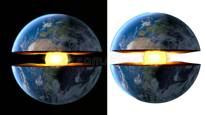 Earth core. inner structure with geological layers. 3d rendering royalty free illustration