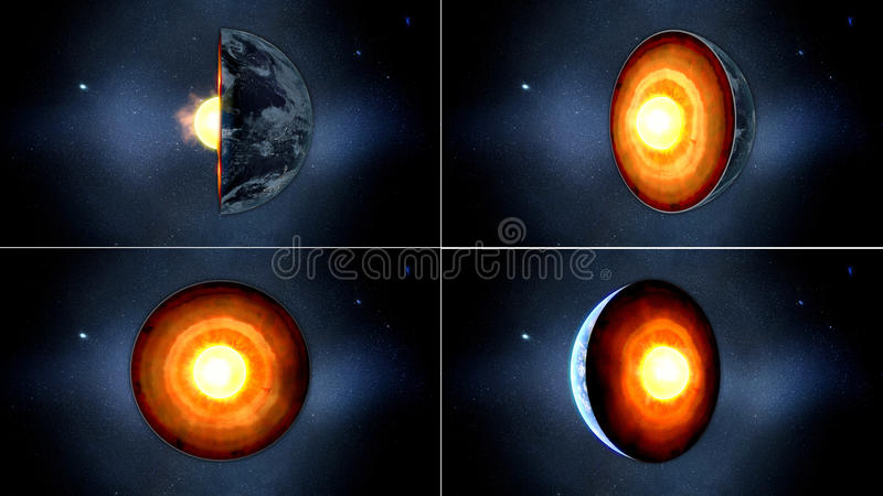 Earth core. inner structure with geological layers. 3d rendering.  stock image