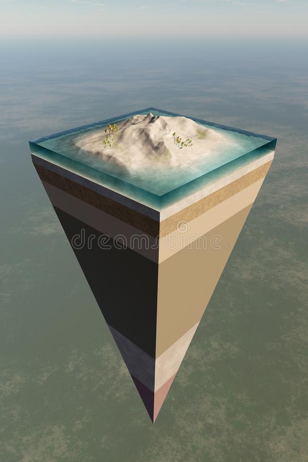 Earth core structure cut-away vector illustration