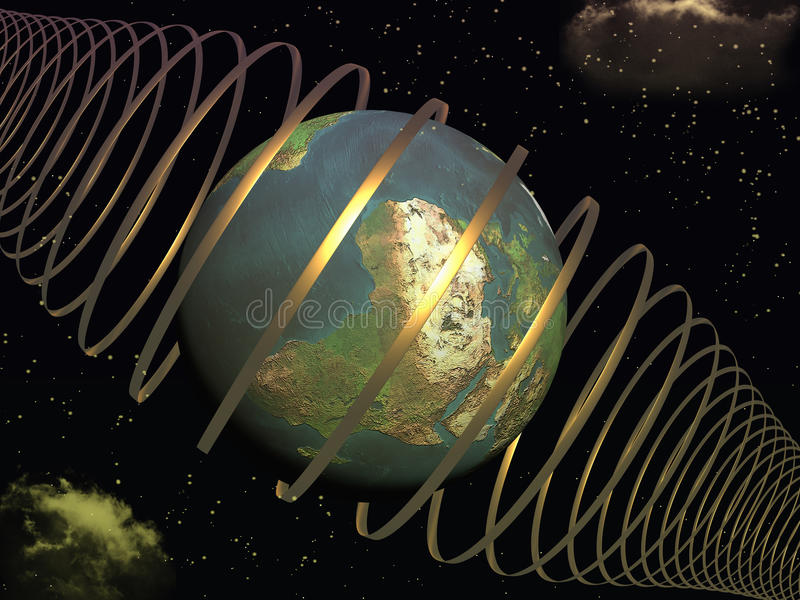 Earth in cosmic rays royalty free illustration