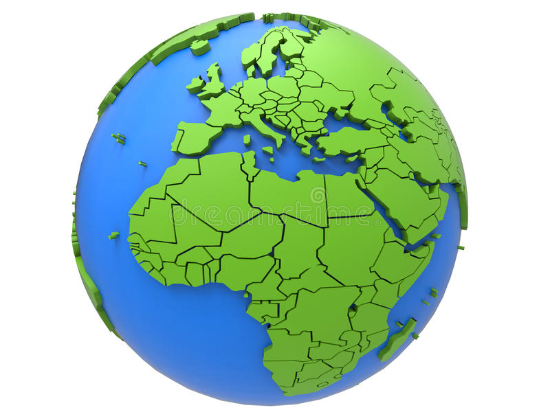 Earth countries borders. 3D rendered illustration of the earth globe isolated on a white background. The borders of each countries are marked on the 3D model stock illustration