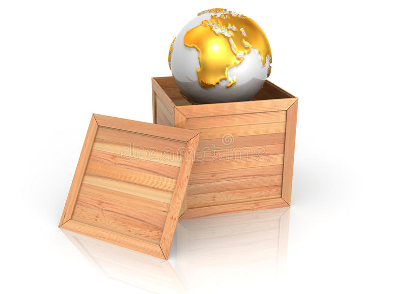 Earth in crate vector illustration