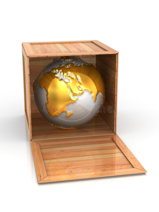 Earth in crate royalty free illustration