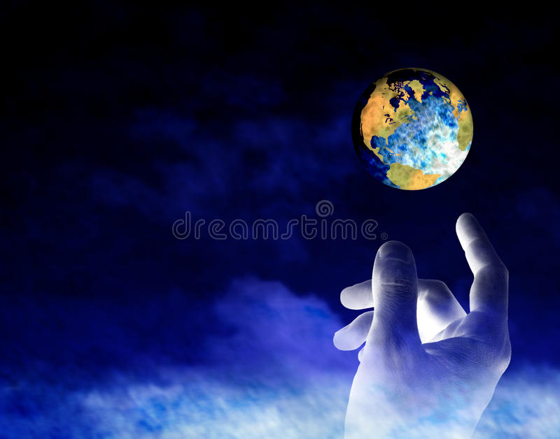 Earth Creation. A conceptual image of God creating the Earth royalty free stock images