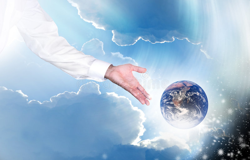 Earth and creation. An arm in a long sleeve white shirt tossing the earth into space as a concept for creation. The arm is in business attire for God's work was stock illustration