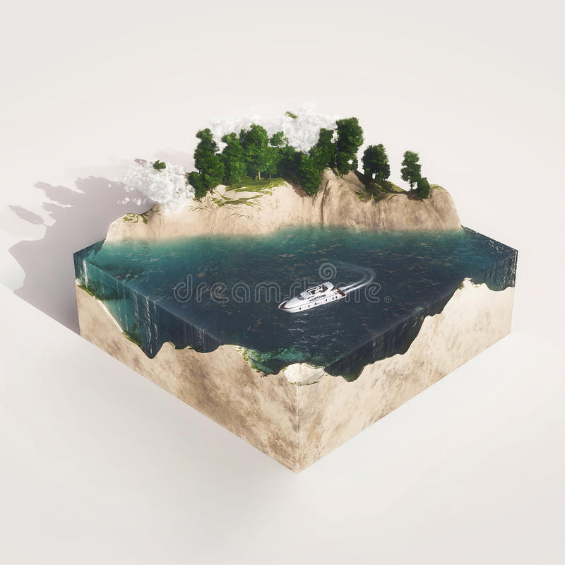 Earth Cross Section With Water, Mountains, Tree Stock Photos