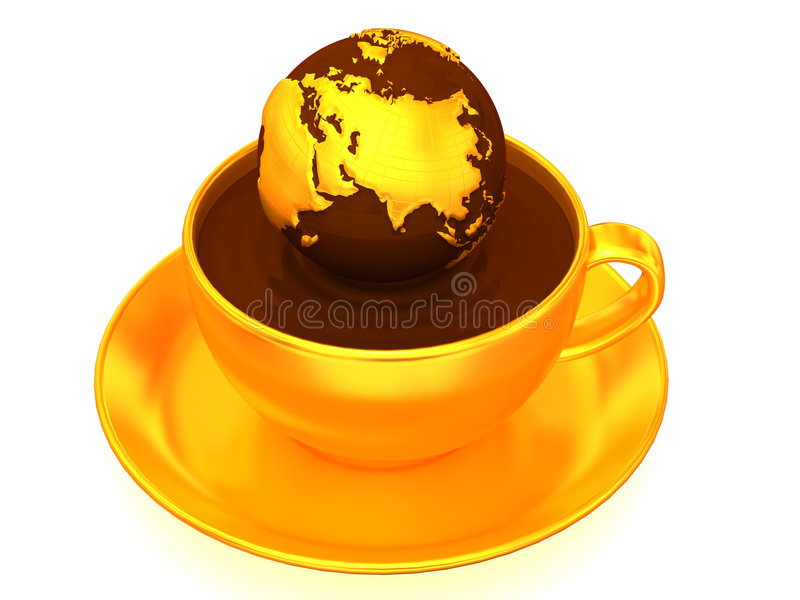 Earth on cup of coffee. 3d royalty free illustration