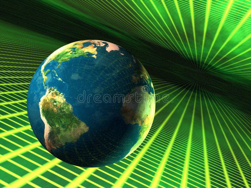Earth in cyberspace. Planet earth travelling through cyberspace. CG illustration stock illustration