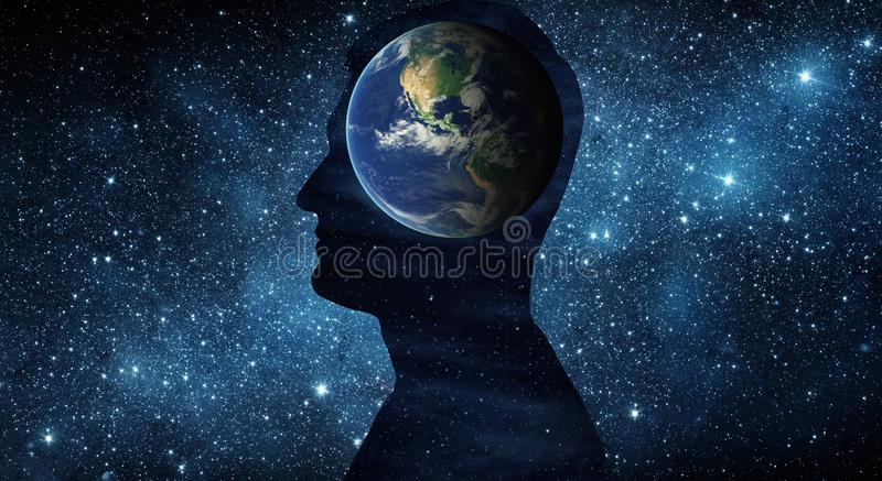 Earth Day 22April concept. Planet earth inside a human silhouette on the background of the universe. vector illustration