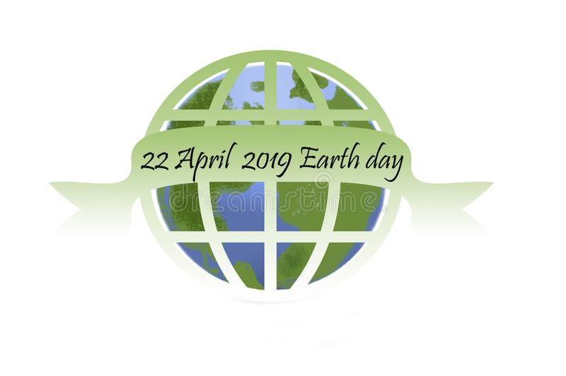 Earth day - 22 april earth globe on white royalty free illustration