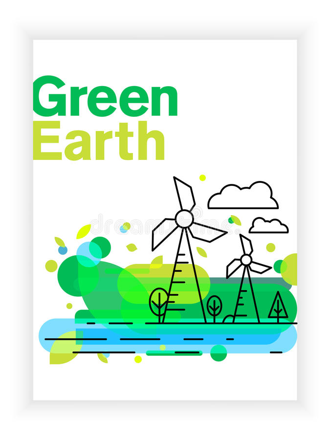 Earth Day Brochure Or Poster Vector Template Planet In Linear Style