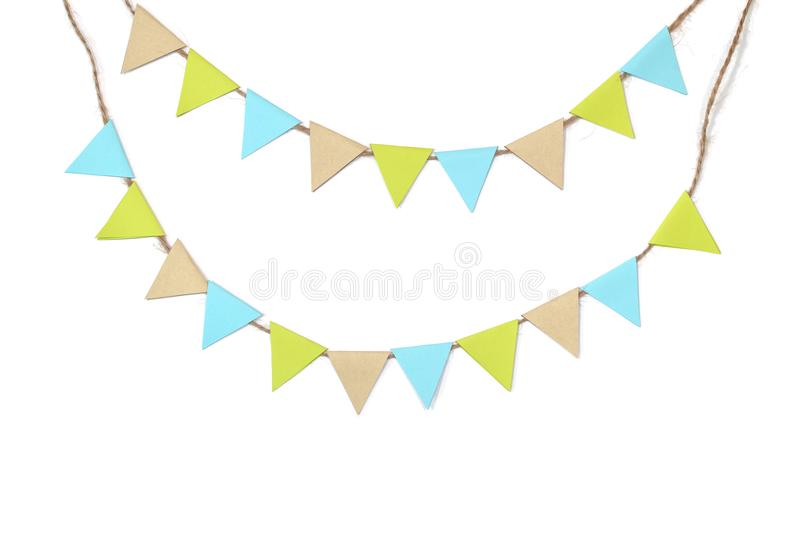 Earth day bunting paper cut on white background stock illustration
