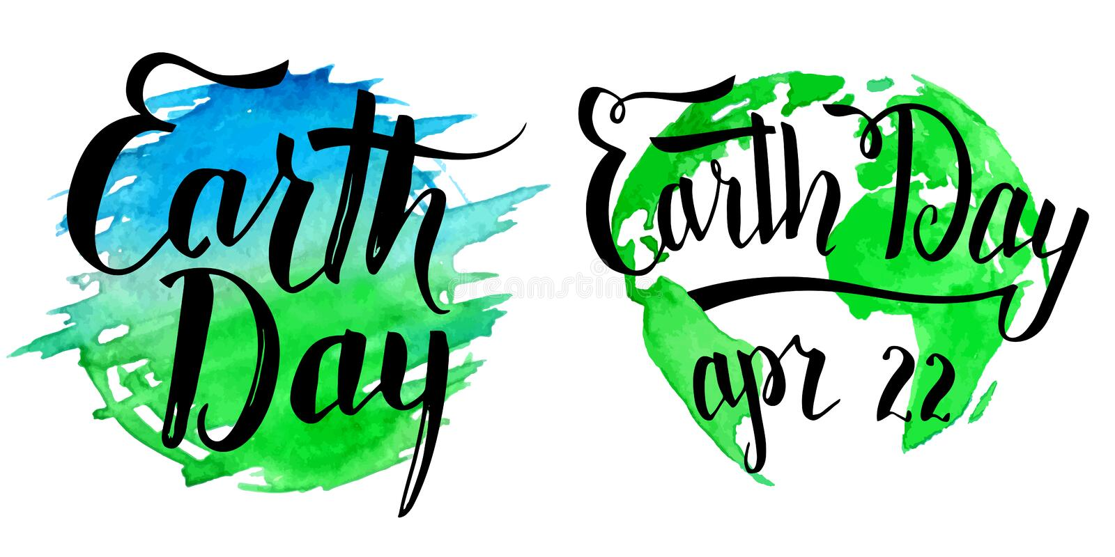 Earth Day calligraphy on watercolor background. Earth Day modern calligraphy set. Brush handwritten inscriptions on blue and green watercolor splash and planet stock illustration