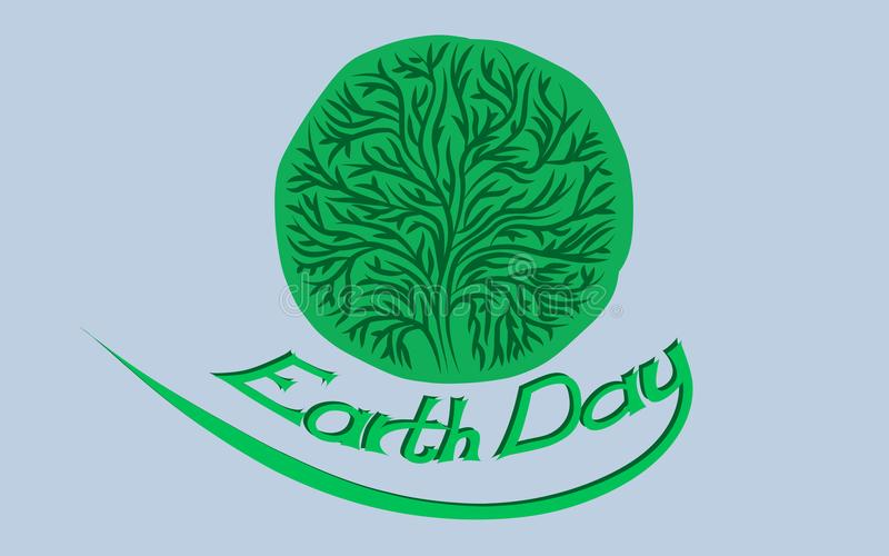 Earth day card or banner with a green stylised tree royalty free illustration