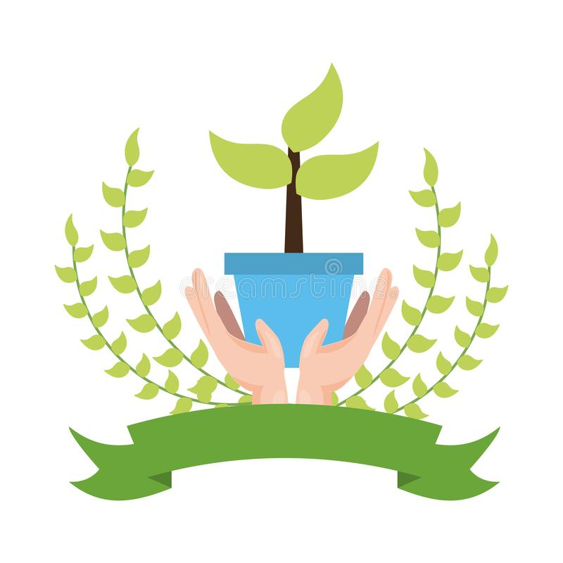 Earth day card. Hand holding potted plant earth day card vector illustration stock illustration