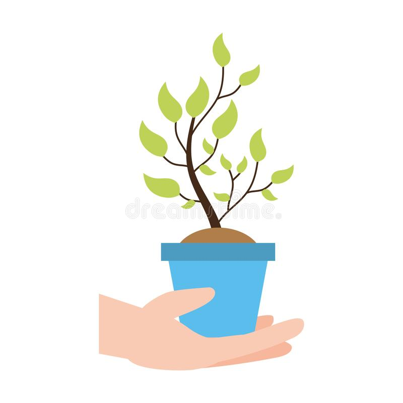 Earth day card. Hand holding potted plant earth day card vector illustration royalty free illustration