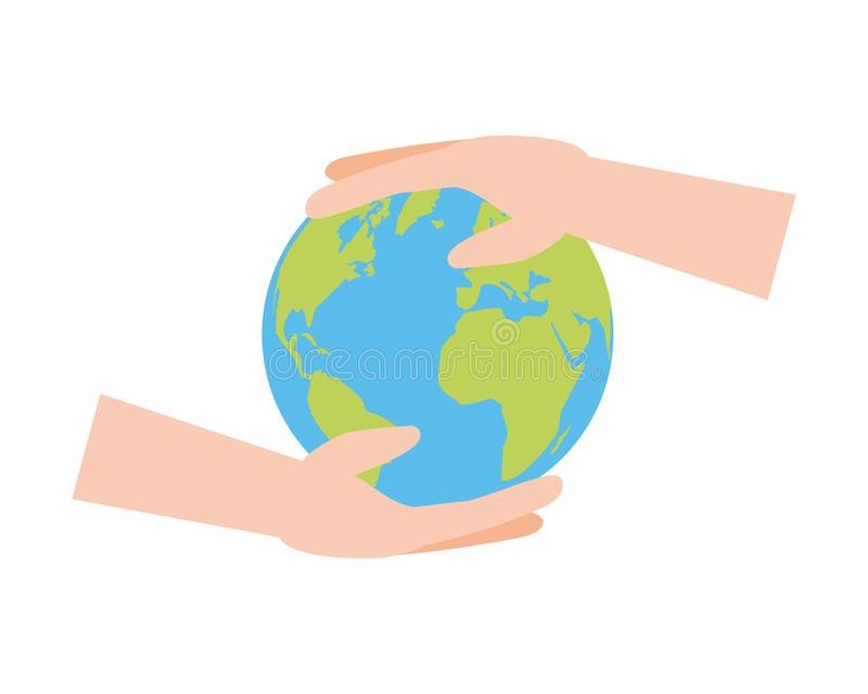 Earth day card. Hands holding planet earth day card vector illustration vector illustration