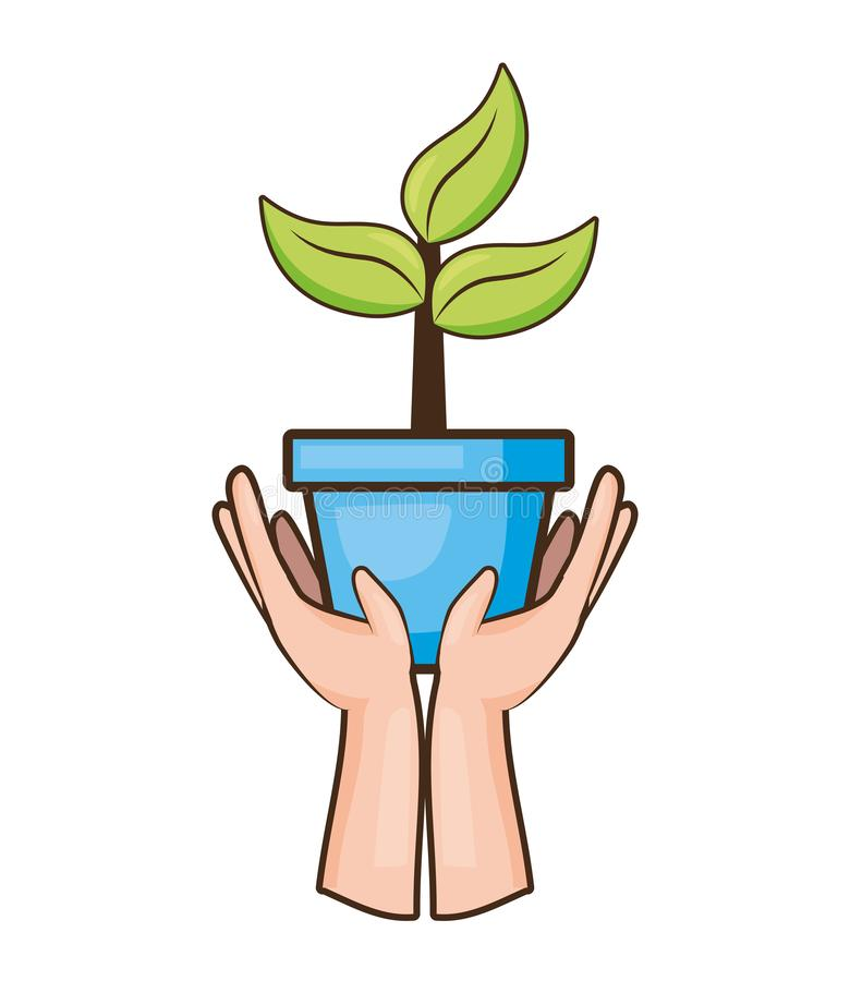 Earth day card. Hands holding plant earth day card vector illustration vector illustration
