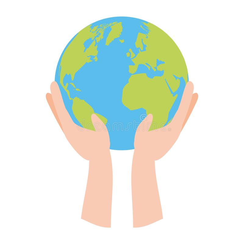 Earth day card. Hands with planet earth day card vector illustration vector illustration