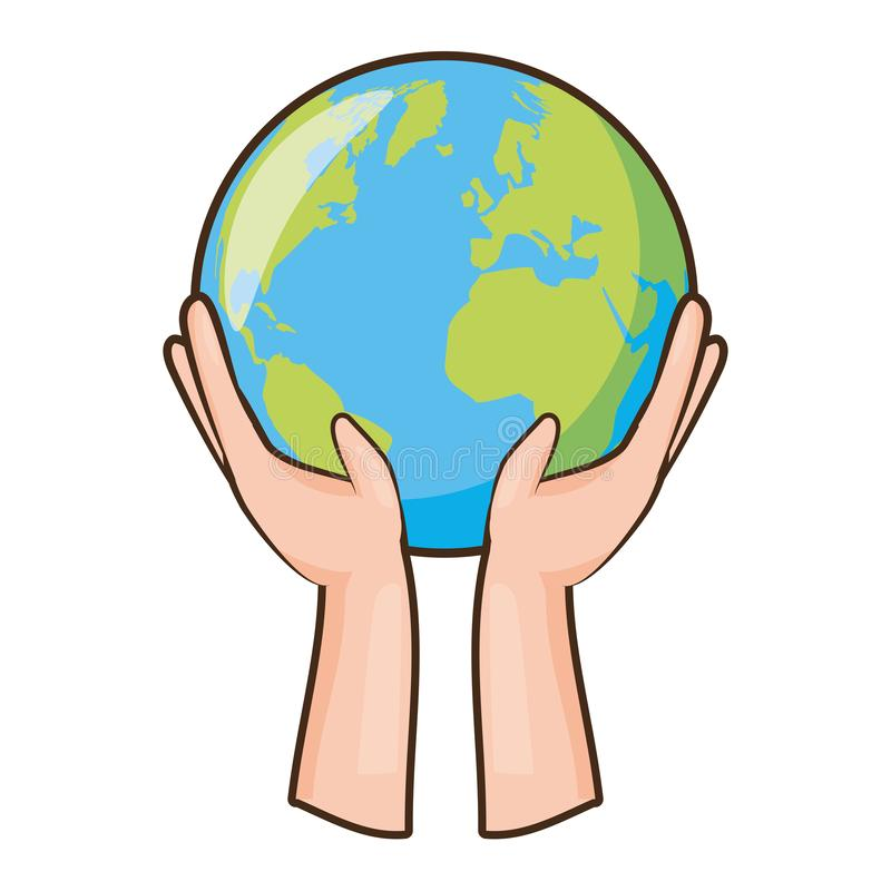 Earth day card. Hands with planet earth day card vector illustration royalty free illustration