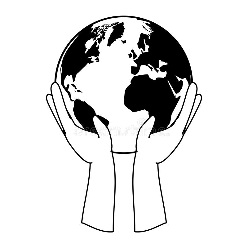 Earth day card. Hands with planet earth day card vector illustration stock illustration