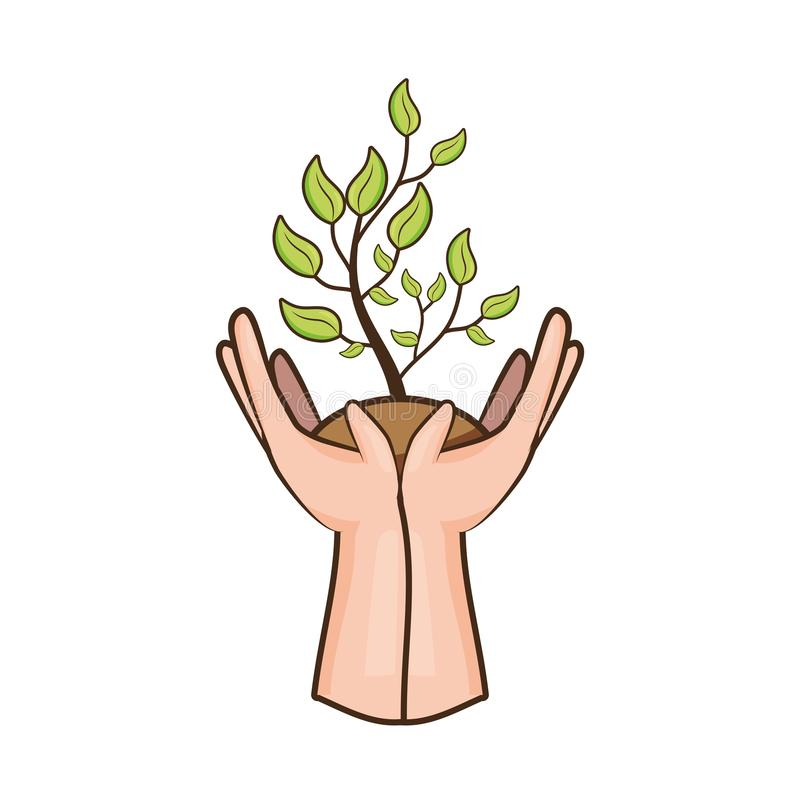 Earth day card. Hands with plant earth day card vector illustration vector illustration
