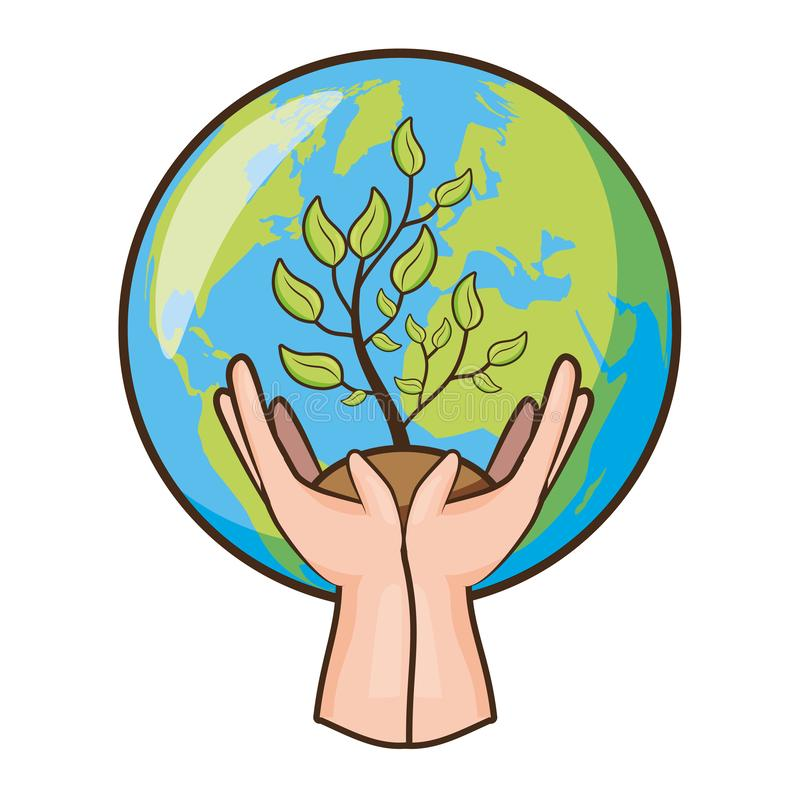 Earth day card. Hands with potted plant planet earth day vector illustration royalty free illustration