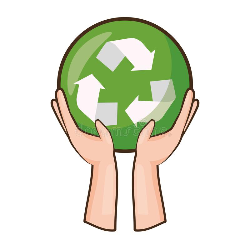 Earth day card. Hands with recycle emblem earth day card vector illustration royalty free illustration