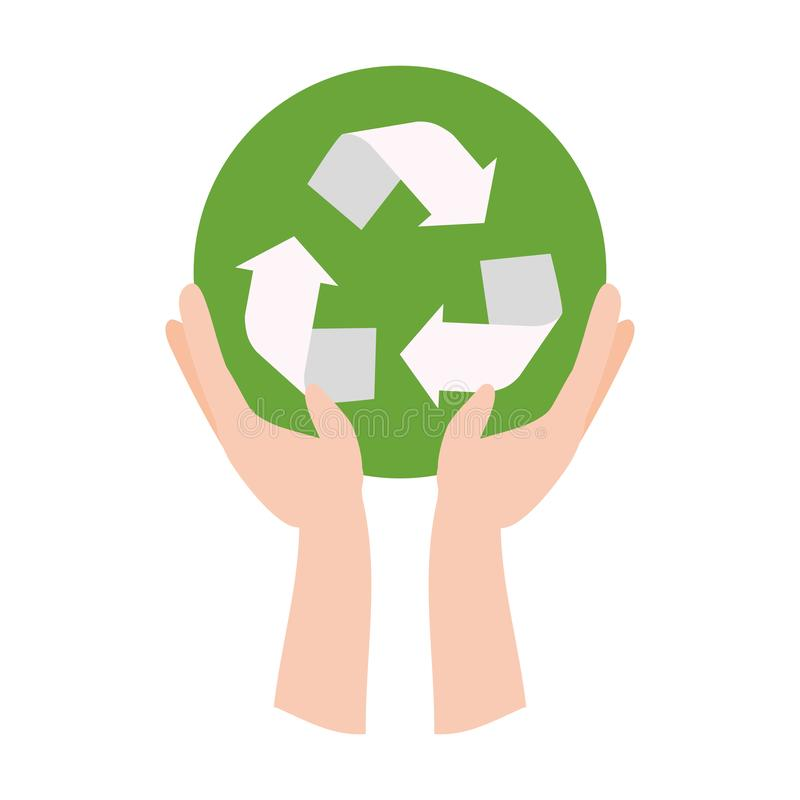 Earth day card. Hands with recycle emblem earth day card vector illustration vector illustration