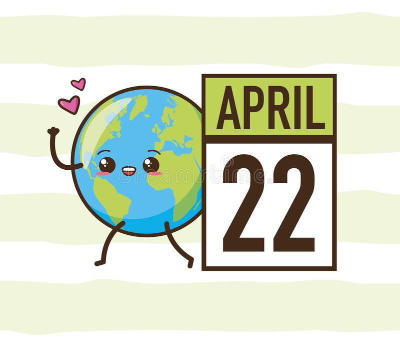 Earth day card. Kawaii planet calendar earth day card vector illustration stock illustration