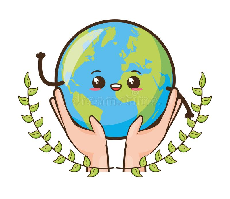 Earth day card. Kawaii planet in hands earth day card vector illustration royalty free illustration