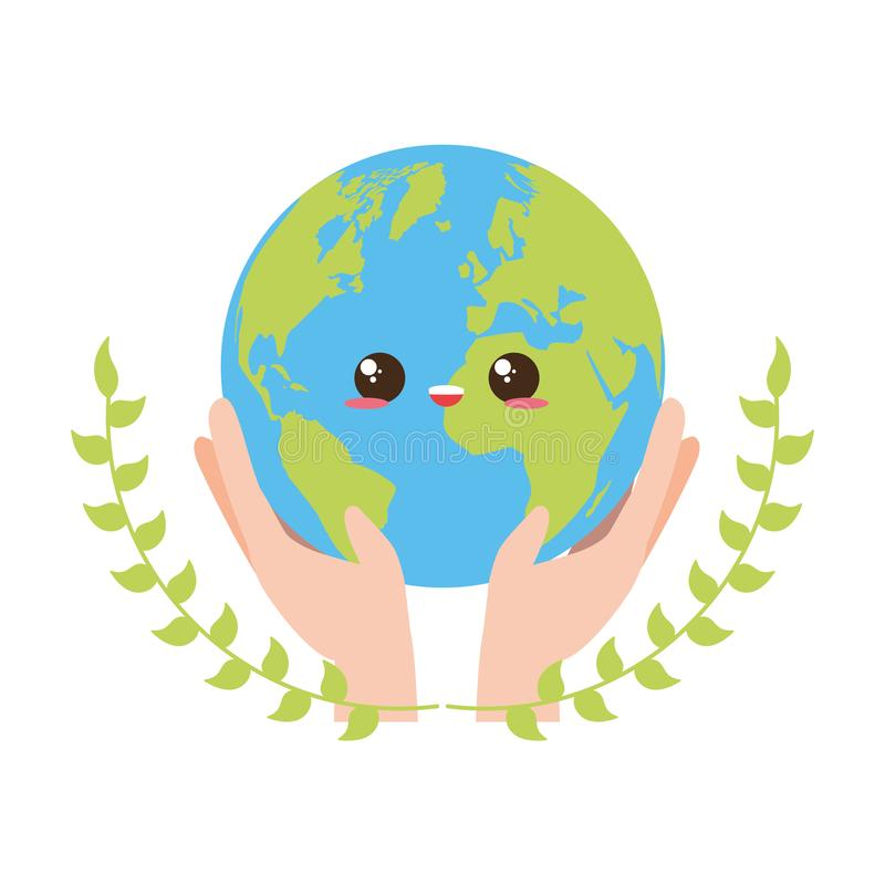 Earth day card. Kawaii planet in hands earth day card vector illustration stock illustration