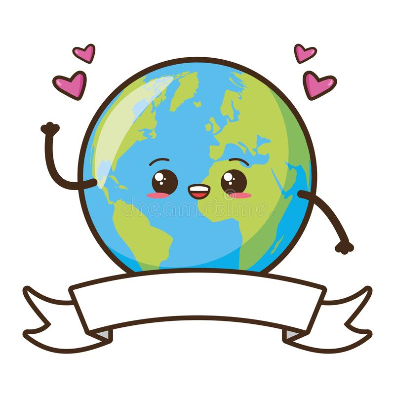 Earth day card. Kawaii planet hearts earth day card vector illustration stock illustration