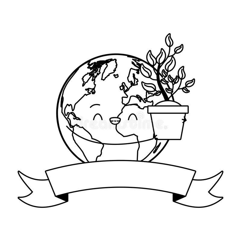 Earth day card. Kawaii planet holding plant earth day card vector illustration stock illustration