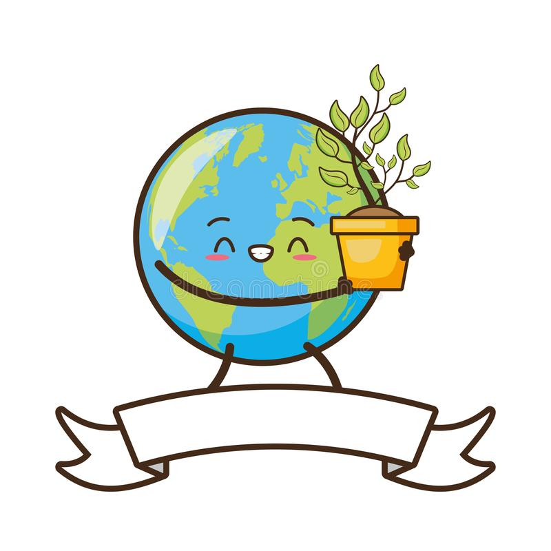 Earth day card. Kawaii planet holding plant earth day card vector illustration vector illustration