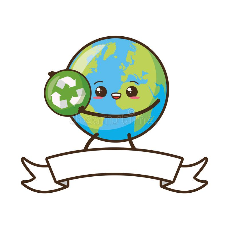 Earth day card. Kawaii planet with recycle sign earth day vector illustration royalty free illustration