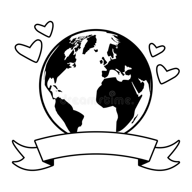 Earth day card. Planet hearts earth day card vector illustration vector illustration