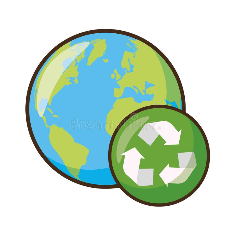 Earth day card. Planet with recycle sign earth day vector illustration vector illustration