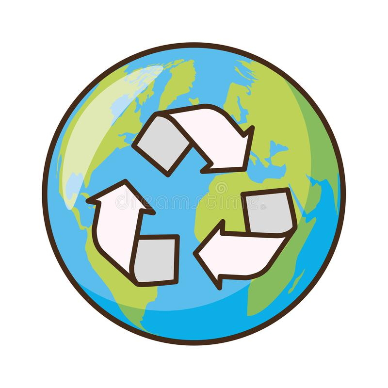 Earth day card. Planet recycle earth day card vector illustration stock illustration