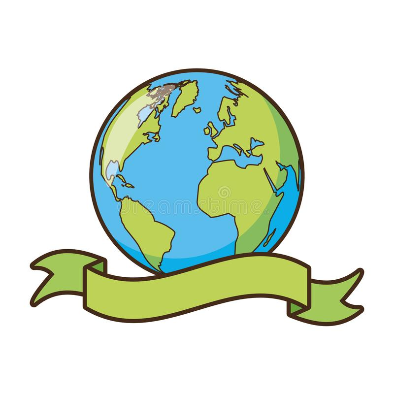 Earth day card. Planet sticker earth day card vector illustration stock illustration