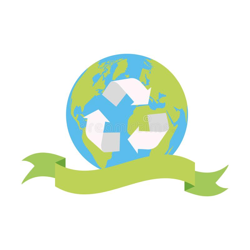 Earth day card. World recycle emblem earth day card vector illustration royalty free illustration